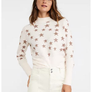 Ann Taylor Star Shimmer Mock Neck Sweater Pink